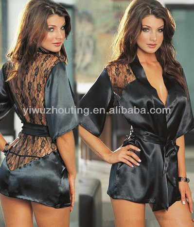 Wholsale Sexy Underwear Bathing Suits Glaze Black Lace Nightgown Plus Size