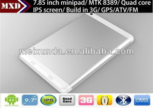 Hot!China supplier tablet 7.85 inch MTK8389 Quad Core 1.2GHz Tablet Pc IPS 1GB/8GB with 3G SIM Card Slot, GPS, ATV, BT, FM, HDMI