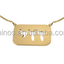 hot selling women jewelry 24K Gold Plated Dog tag Name Necklace in Hebrew