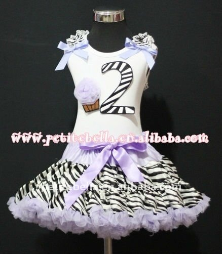 2nd Birthday White Top with Black Zebra number & Light Purple Rosette cake & Ribbon,Light Purple Zebra Ruffle Pettiskirt MAMM77