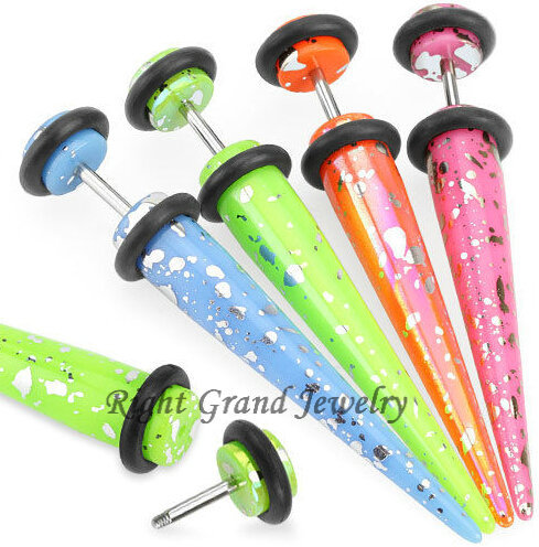 Silver Splatter UV Acrylic Fake Taper Ear Stretchers