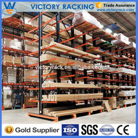 Long arm flexible double or single side heavy duty cantilever racking for timber storage