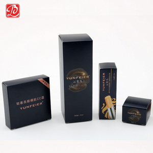 Shiny Color Folding Carton, Personal Care Packaging, Elegant Black Custom Paper Box With Logo Printing