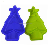 Colorful customized christmas tree shaping silicone cake moulds manufacturing