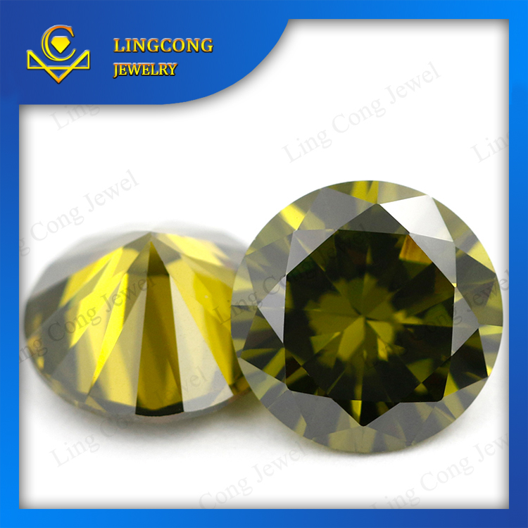 Factory Price CZ Gems Round Shaped Decorative Jewelry Deep olive cubic zirconia