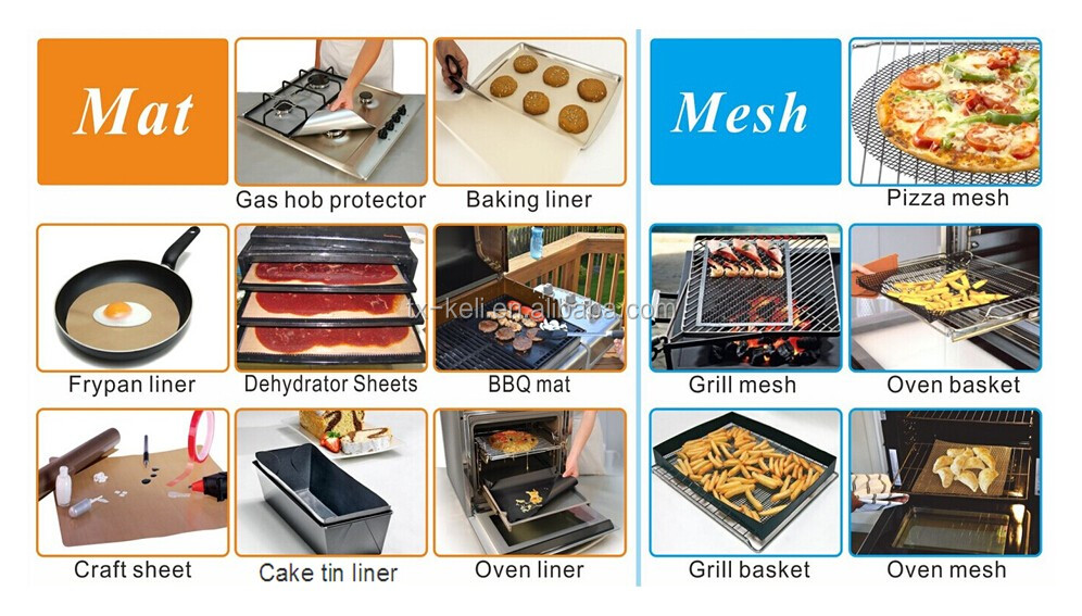 BSCI factory Non-stick BBQ Grill Liner Cooking Mat - set of 5 - perfect non-stick solution for barbecue