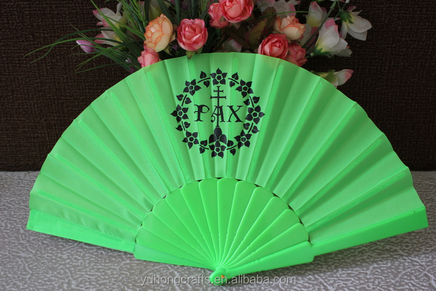 Custom printed polyester fabric plastic promotion hand fan