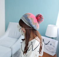 100% Handmade fashion in stock women winter girls beanie hats with pom poms