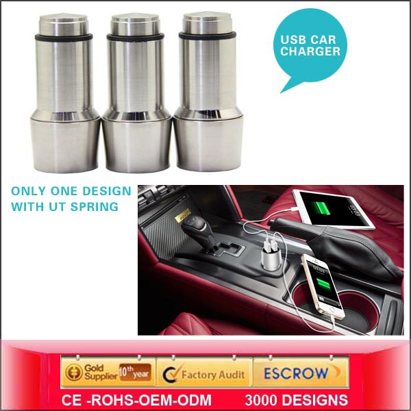 2014 With CE & Rohs 2.4A Dual Usb Car Charger <strong>Manufacturers</strong> & Factory