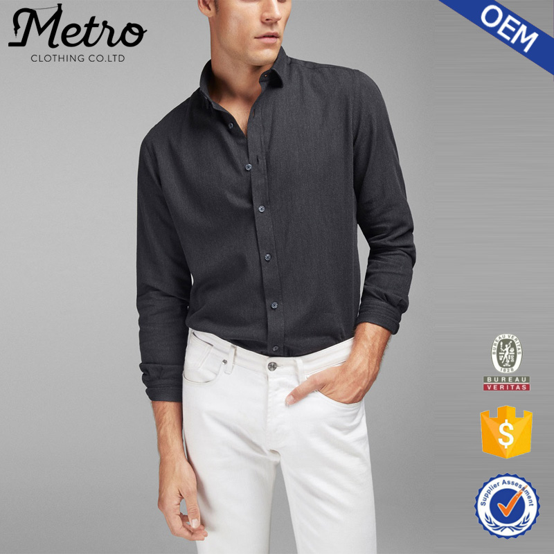 Latest Plain Black Slim Fit Formal Shirt Design for Men