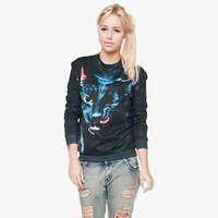 fashion black cat high quality 3d digital print fullprint crewneck sweatshirt spring autumn unisex custom oversized pullover