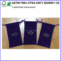 Embroider Logo Pouches Golden Velvet Drawstring Made Wholesale Bags