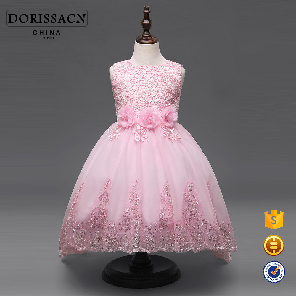 Model Formal Wedding Birthday Party Sleeveless Satin Children Long Frocks Designs Patchwork Girl Dress