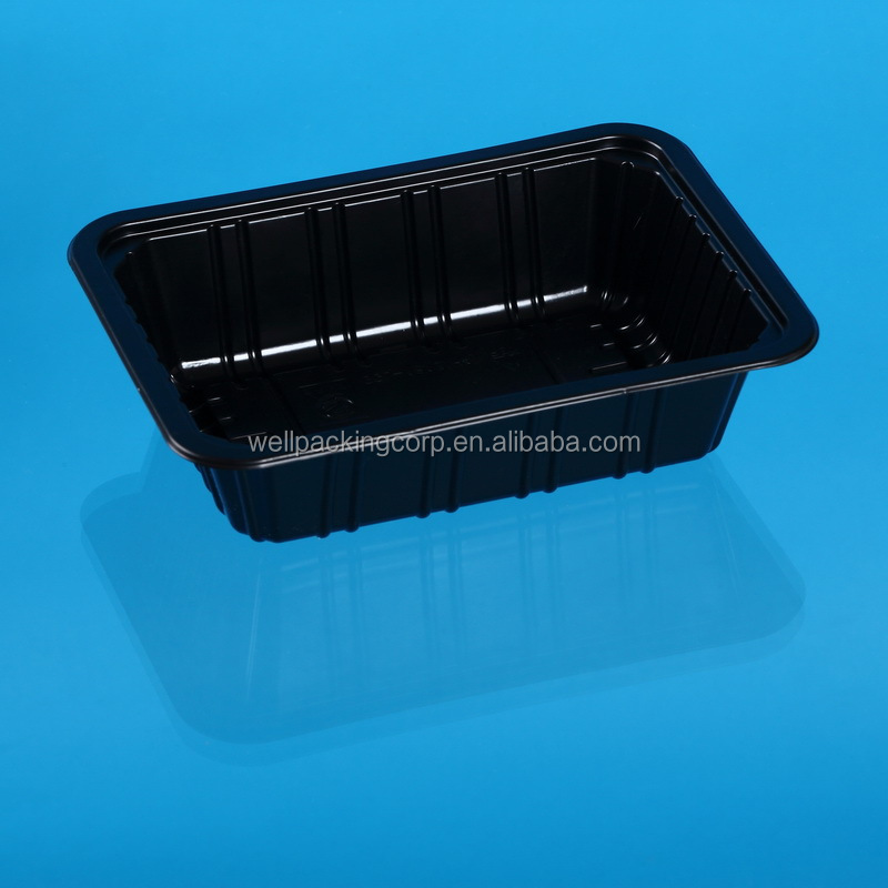 Black disposable plastic fish, chicken, meat packing tray