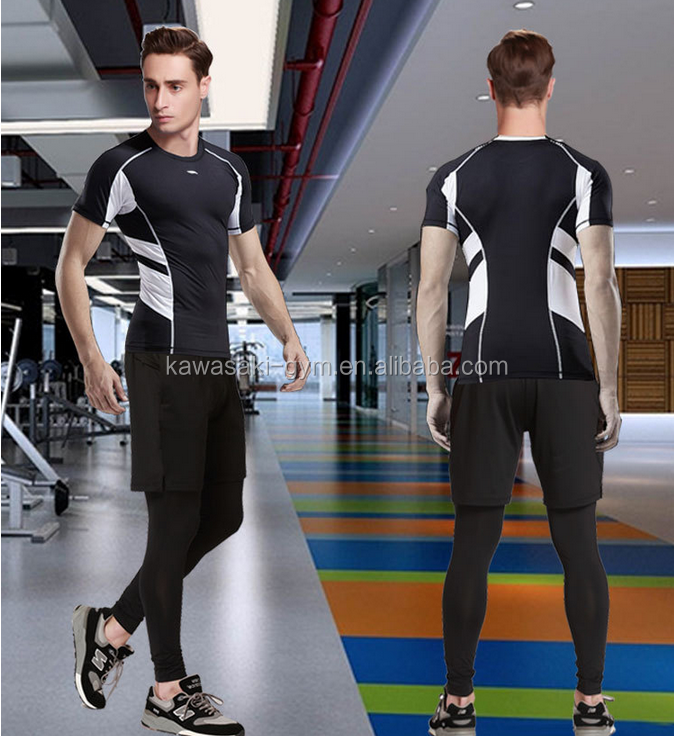 Cheap personalized men camo spandex athletic fitness compression tops