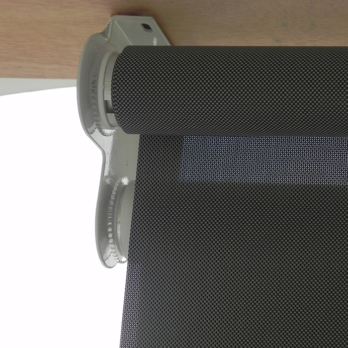 Blackout sun shade curtain plastic chain pull double layer for Exterior no chain window shade