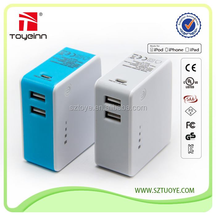 Mini Power Bank 2 in 1 5v 3.1a 2 USB Ports Charger CE ROHS Approved