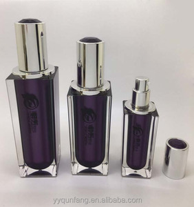 High quality square purple clear plastic custom cosmetic containers bottle 15ml 30ml, 50ml, 100ml,120ml