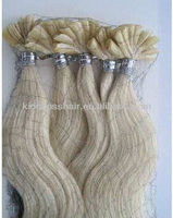 blonde color keratin hair extension remy human hair