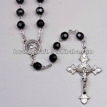 8MM christian religious black saint glass chapelt bead rosary chain necklace