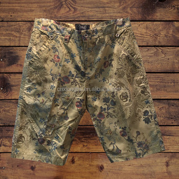 100%cotton twill allover print men's board shorts