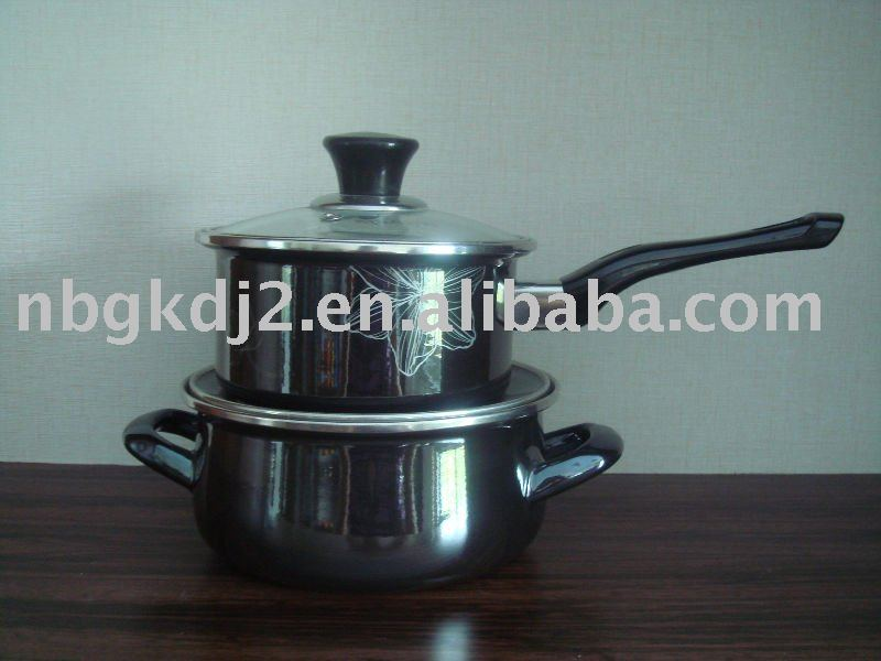 Enamelware Cookware Pot With Mirror Face