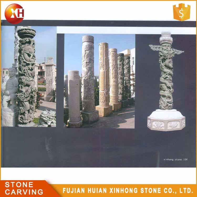 Natural Decoration Stone Carve Dragon Pillar