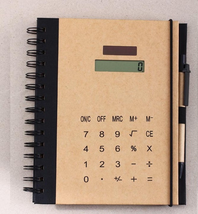 Promotional kraft paper note book set with calculator and ball pen