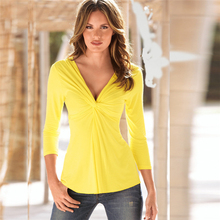 latest shirt designs for women China wholesale 95 cotton 5 spandex short sleeve v neck t shirt