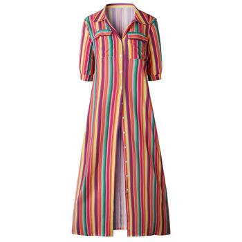 Indonesia clothing Summer fashion print color stripes long shirt lady ropa mujer dresses women