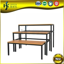 3 layers low-medium-high MDF and steel clothing display table