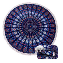 microfiber customized printed round beach towels with tassels