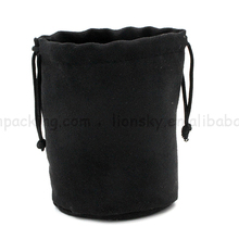 Custom Round Bottom Suede Cosmetic Packaging Pouch