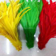 Wholesale cheap and high quality 40--45cm Bleached and Dyed Rooster Tail Feather for carnival costumes