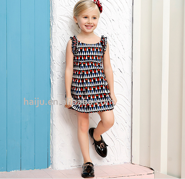 New arrival flutter sleeve kids casual latest dress designs for girls summer
