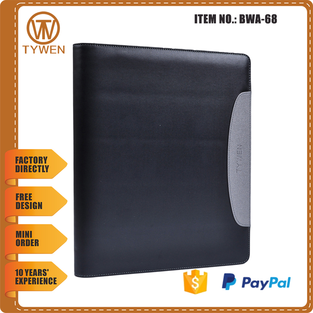 BWA-68 2016 new style black leather conference folder with 6 ring binder/pen holder/card holder