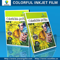 OHP film and colorful inkjet film for inkjet printer and laser printer
