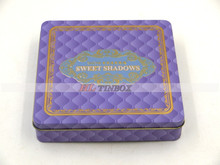 Square Make-up Cosmetic Tin Box with Hinged