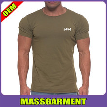 Lengthened Design With Fishtail Hem T Shirt Olive Crewneck T Shirt For Man