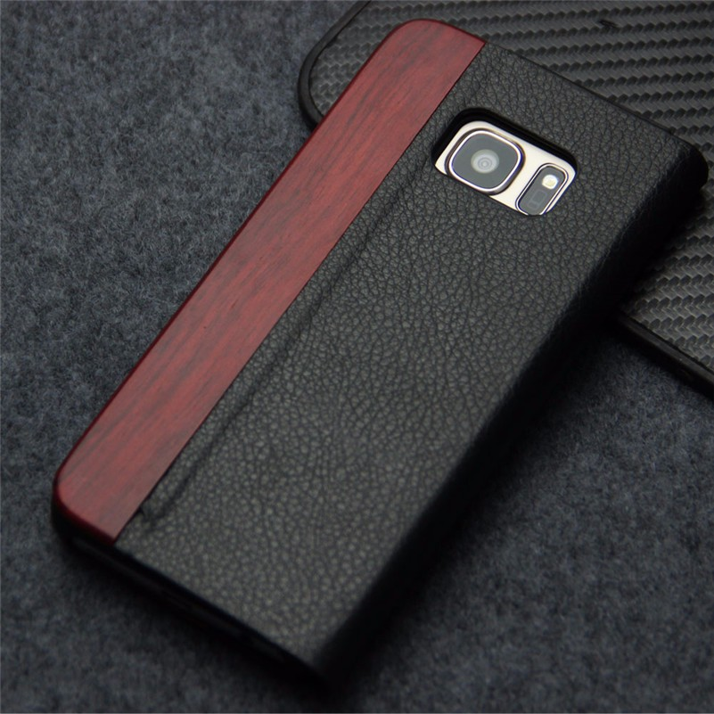 Carving pattern leather wood phone case for SAMSUNG S5 S6 S7 NOTE 7