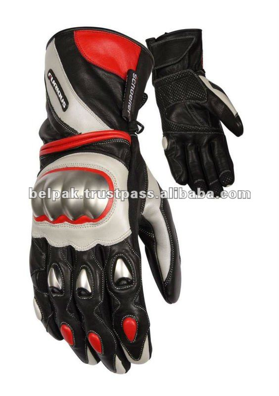 Motorcycle Racing Black/white/Red Gloves with high end quality