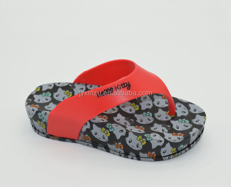 Comfortable Durable customize Hello Kitty PCU flip flop Platform Shoes
