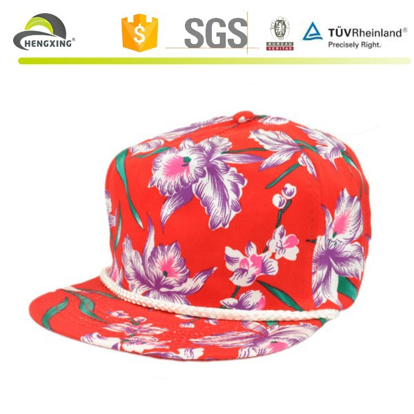 Hawaii Tropical Flower Blank Vintage Retro Rope Red Snapback Cap