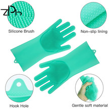 Heat Resistant Reusable silicone cleaning gloves Slip Resistant Dish Washing gloves