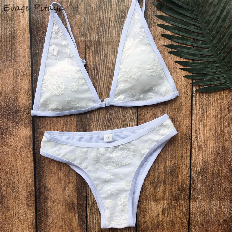 Ability to customize Special fabric dropshipping in stock Lace white brazilian bikinis woman swimwear 2018 <strong>sexy</strong>