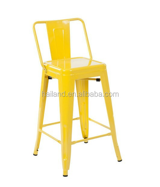 Yellow Metal Bar Stool (low Back Rest) T3503-24ab - Buy French Style - Yellow Metal Bar Stools Baileys Kitchen