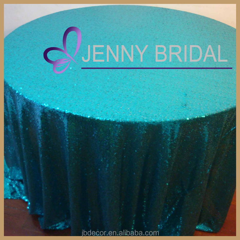 SQN#9 oriental blue turquoise polyester sequin wholesale tablecloth