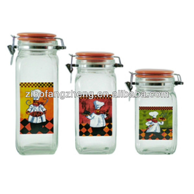 chief pattern decal glass storage jar set with ceramic lid glass canister