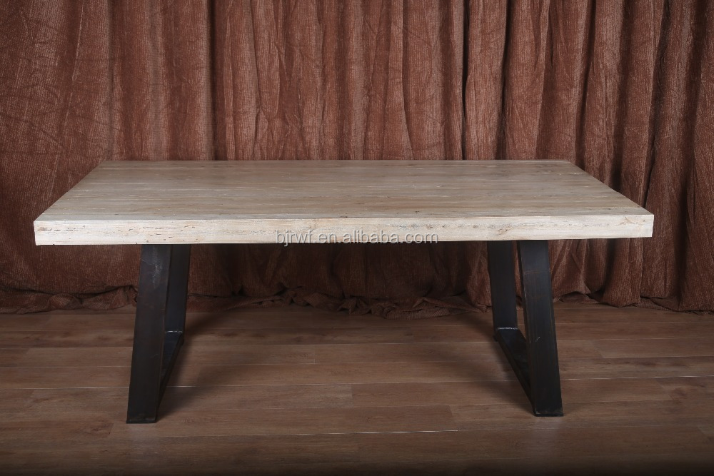 high quality metal leg wooden top dining table for sale