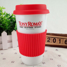 No handle tall procelain double wall ceramic travel coffee mugs with silicone lid custom logo printed